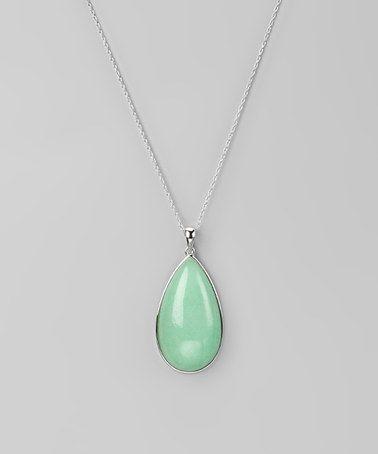 Green China Jade Teardrop Pendant Necklace
