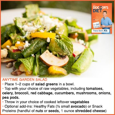 """Dr. Travis' Anytime Garden Salad. Get more healthy recipes from Dr. Travis' book, """"The Doctor's Diet,"""" available in stores and online now! #birdstreetbooks"""
