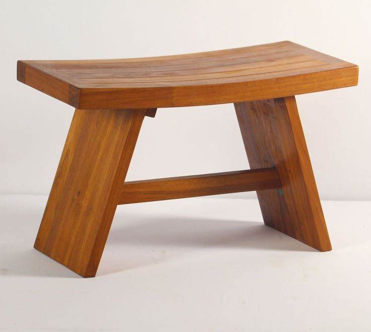 The double Asian teak shower stool also makes a nice little bench. This is a very solidly built, sturdy shower bench made form 100% Indonesian teak wood.
