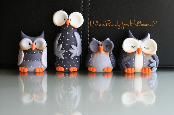 Fondant Whimsical Halloween Owls Set- Etsy page