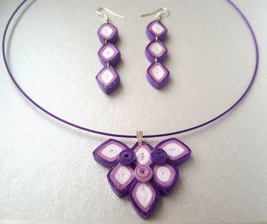 Geometric sets purple & white in quilling