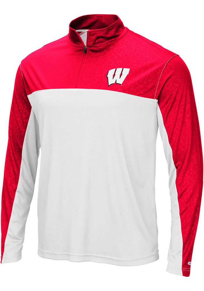 Colosseum Wisconsin Badgers Mens Red Luge Long Sleeve 1/4 Zip Pullover, Red, 100% POLYESTER, Size M