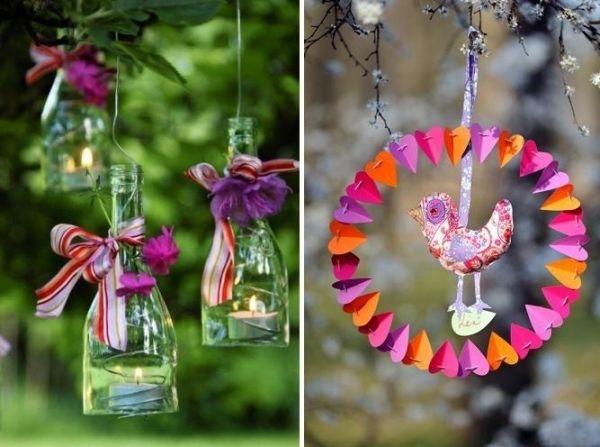 windlichter glasflaschen kranz-osterdeko für den garten | ostern, Gartenarbeit ideen