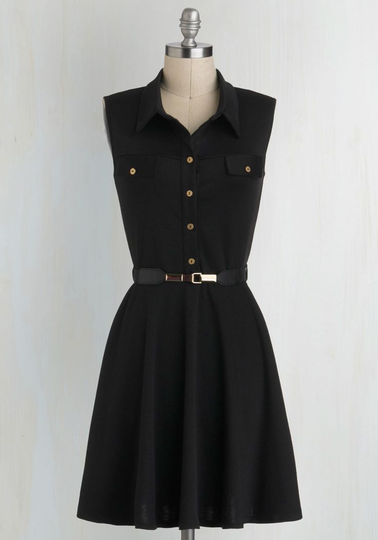 Shirt-Dressed for Success - Black, Gold, Buttons, Pockets, Belted, Work, Casual, Menswear Inspired, Shirt Dress, Sleeveless, Collared, Mid-length, Vintage Inspired