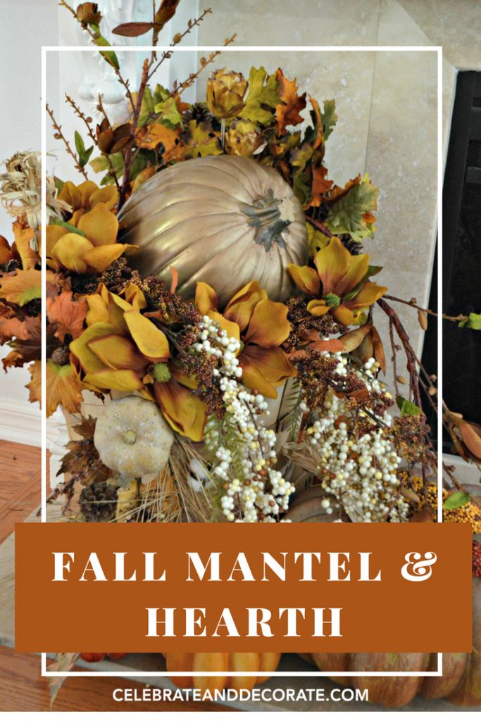 A Mantel and Hearth are decorated in lovely golds and browns with leaves, garlands and gourds.