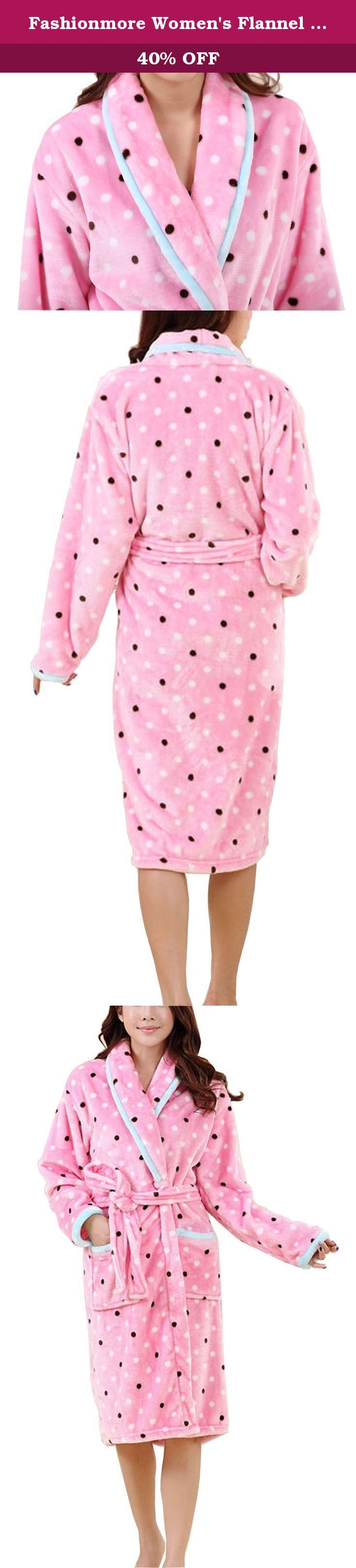 Fashionmore Women's Flannel Plush Polka Dot Sleepwear Bathrobe Pajamas Pink M. Please check your measurements to make sure the item fits before ordering. Use similar clothing to compare with the size. Asian Size Information(Inch) S Cloth Length: 43.3 Bust: 43.3 Shoulder: 18.9 Sleeve Length: 19.7 M Cloth Length: 45.3 Bust: 47.2 Shoulder: 19.7 Sleeve Length: 20.5 L Cloth Length: 47.2 Bust: 49.2 Shoulder: 20.5 Sleeve Length: 21.3 Washing & Care Instructions: 1.Machine washable,wash in warm...