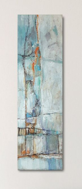 Abstract Canvas Painting, Landscape Abstract Art, Original Canvas Art, Acrylic Painting Canvas, Modern Abstract, Turquoise Painting White