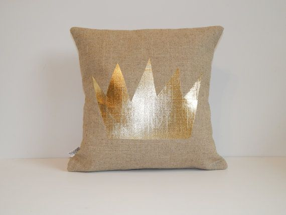 Gold Crown Throw Pillow : Gold Metallic Crown Pillow - Where the Wild Things Are - 14x14- Linen-blend -Burlap-look - Gold ...
