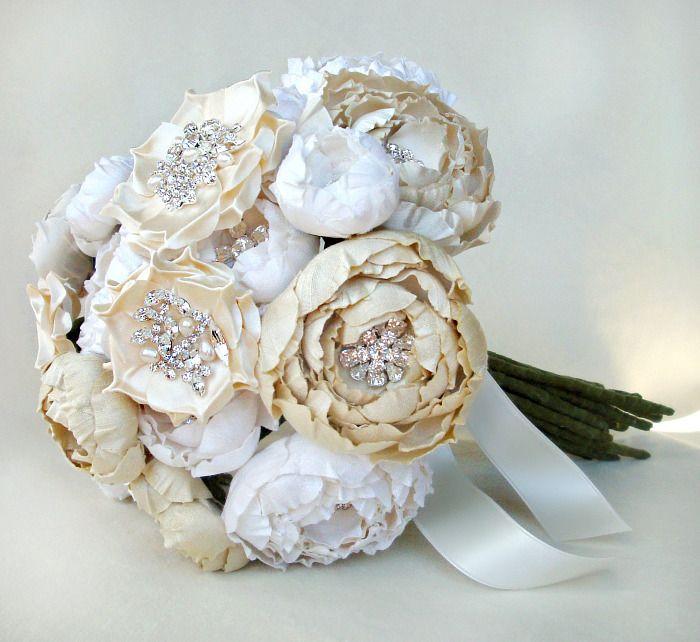 Diy Silk Flower Wedding Bouquets. Blue And Silver Flower Brides ...