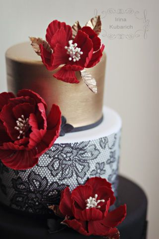 Gold,black and red birthday cake !