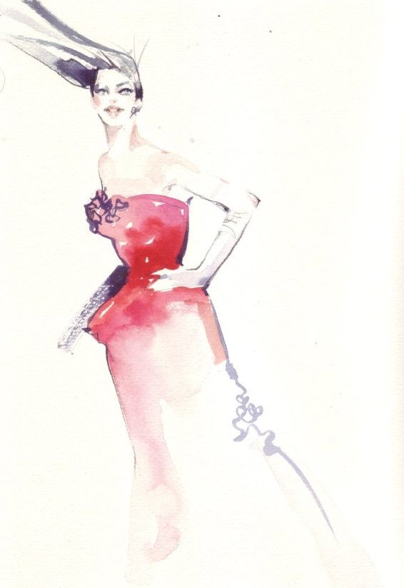 Fashion illustration portrait done in Winsor & Newton watercolors, ink on rough paper.