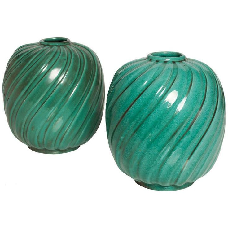 Pair of Scandinavian Modern Vases, Anna-Lisa Thomson, Upsala Ekeby | From a unique collection of antique and modern vases at https://luigi.1stdibs.com/furniture/decorative-objects/vases-vessels/vases/