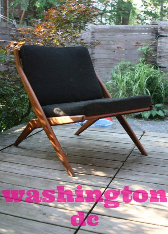 DC's Finest: Dux Scissor Chair, Midcentury Dresser, and Copper Lamp (I've grown tired of MCM design, but this chair looks pretty comfy.)