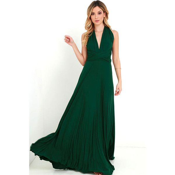 Lulus  Tricks of the Trade Forest Green Maxi Dress ($78) ❤ liked on Polyvore featuring dresses, gowns, green, long halter dress, strapless maxi dresses, long fitted dresses, forest green dress and green maxi dress