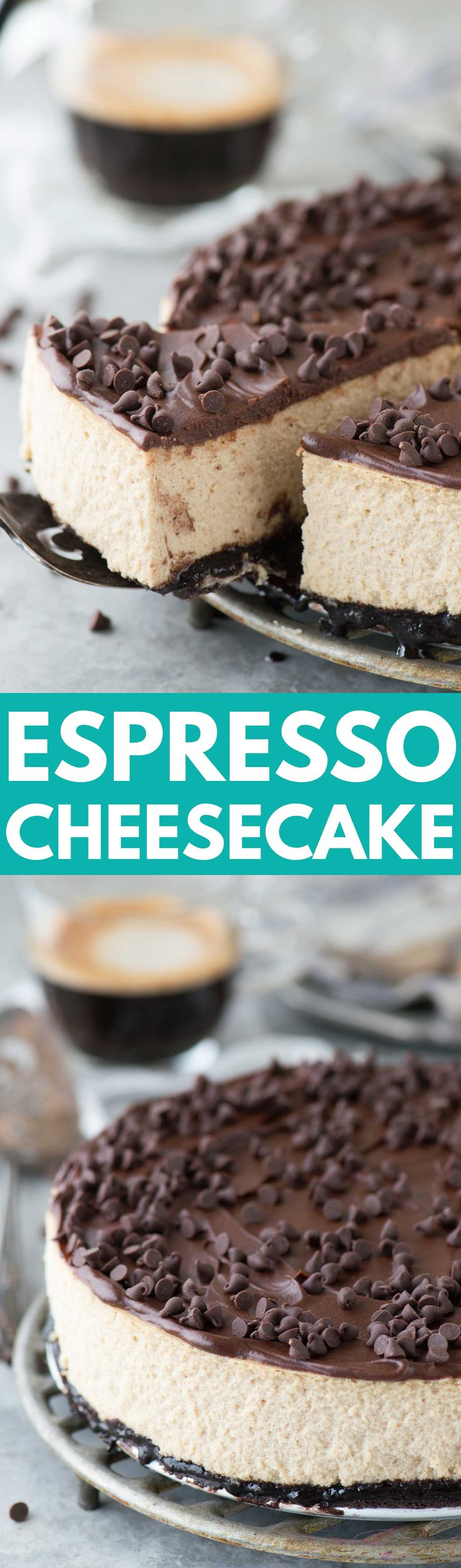 The most amazing espresso cheesecake with an oreo crust and a layer of chocolate ganache! This cheesecake has real espresso in it!: