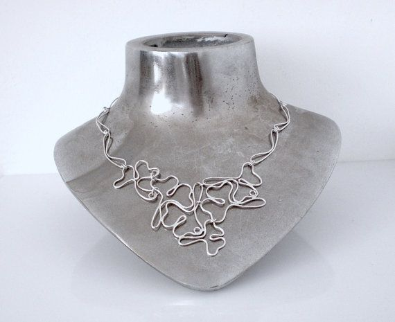 Statement Silver Necklace - Wire Necklace - Ginko Leaves - Bib Necklace - One of a Kind - Handmade - Fine Jewelry