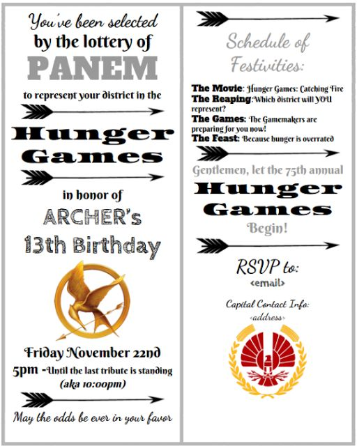 Party Invite Template for Google Docs - Hunger Games Mockingjay