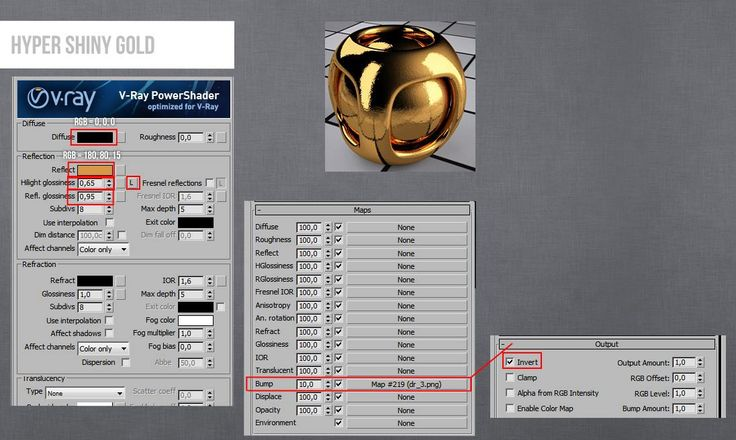 Vray Gold Hyper Shiny Material 3ds Max