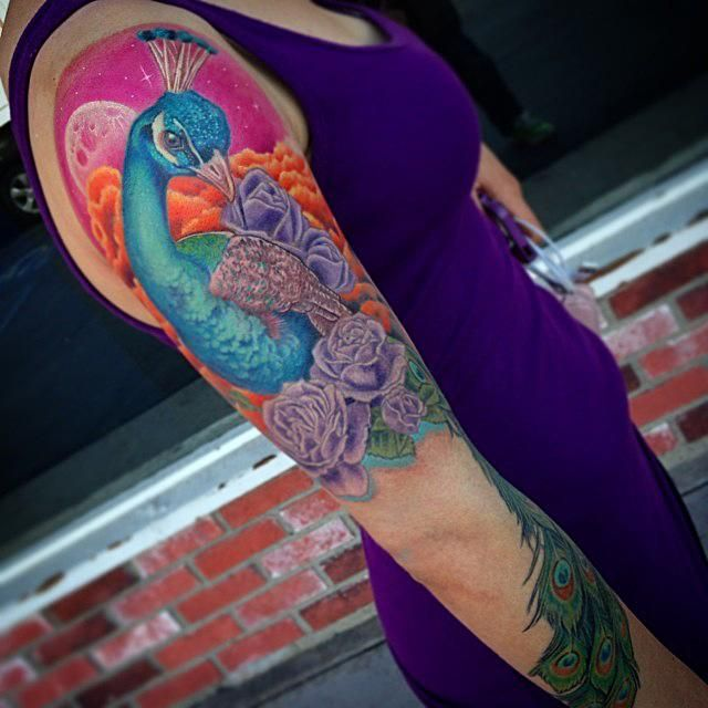 Colorful Feather Tattoo Done In March 2013: 36 Best Feminine Peacock Tattoos Images On Pinterest