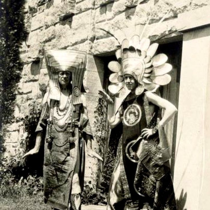 Walter Burley Griffin at left, possibly Marion at right, outside the Grant House, Castlecrag