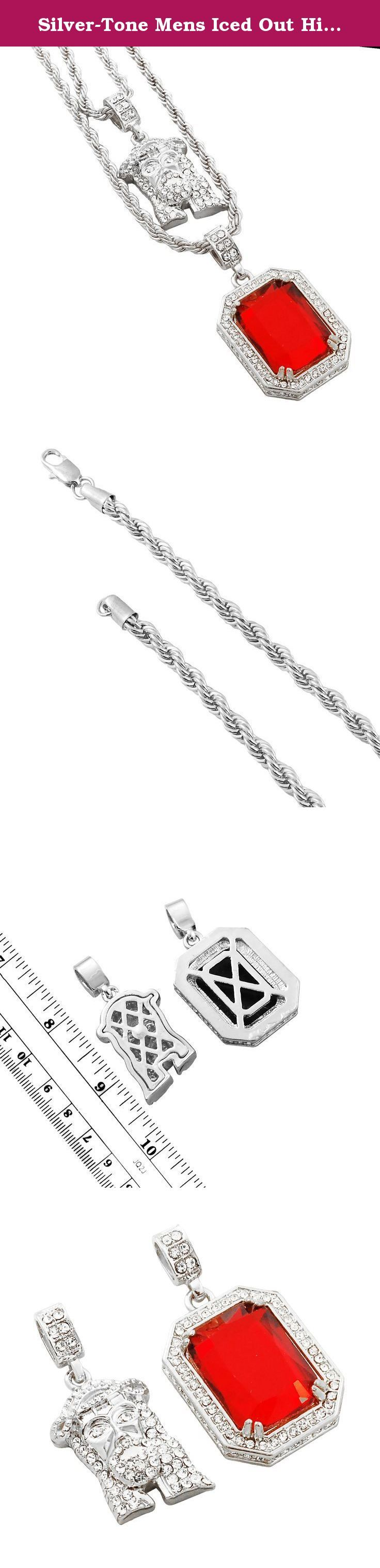 Silver-Tone Mens Iced Out Hip Hop Bling 2pcJesus Head Red Octagon Pendant Solid Rope Chain Set. Check out our selection of Hip Hop Iced out 2pc Sets. Available in our store!.