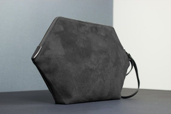Vegan purse, hexagon little bag, black clutch, minimalist handbag