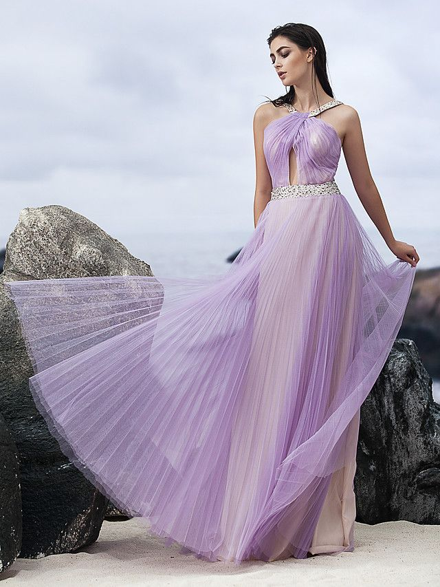 TS Couture Formal Evening Dress - Lavender A-line Halter Floor-length Chiffon - USD $129.99