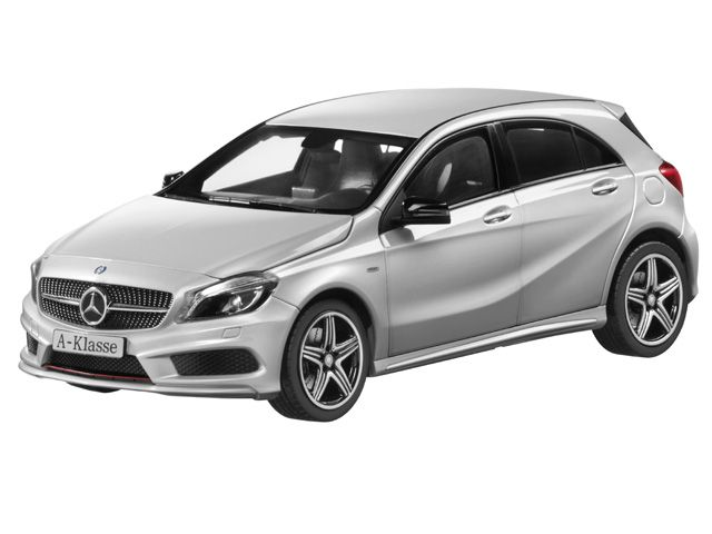 A-Class polar silver - B66960139 Mercedes-Benz A-Class (W176), Sport, polar silver. Diecast zinc. Scale 1:18. Accurate reproduction based on original CAD data. Detailed, high-quality printed interior. Hand-assembled model, made up of over 100 individual parts. Doors, bonnet and tailgate open. Interior and load compartment flock-lined. ILS headlamps, integral seats type 3, privacy windows, 45.7 cm (18-inch) 5-twin-spoke AMG alloy wheels. Supplied with glove. Length approx. 24.0 cm