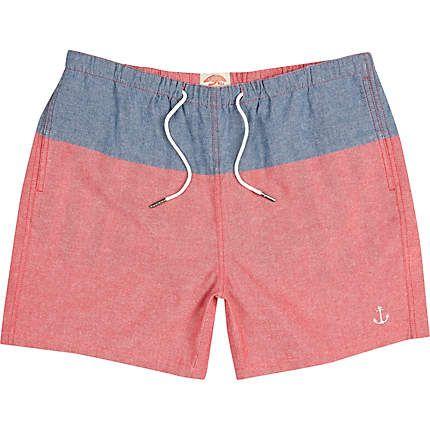 Short de bain colour block rouge et bleu - shorts de bain - shorts - Homme