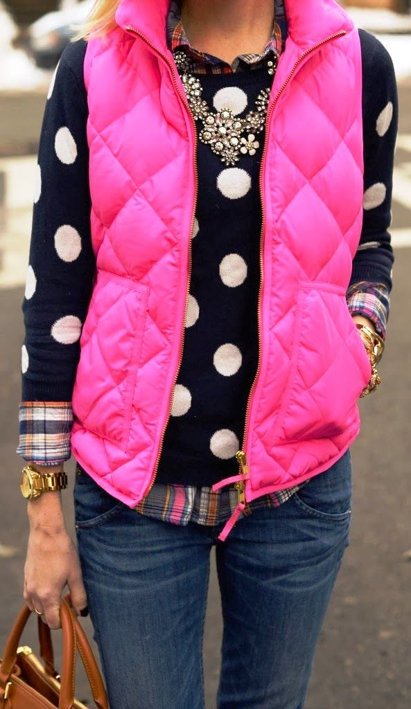 Bright polka dot and jcrew vest jacket @Beth J J J Mitchell Thank you this is soooo cute!!!!