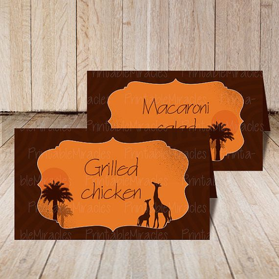 Printable safari food tents