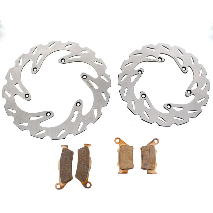 2003 - 2008 KTM 525 EXC Front and Rear RipTide Rotors and Severe Duty Brake Pads, Silver stainless steel