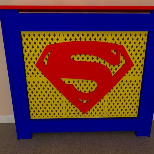 Superman inspired themed radiator covers available painted or unpainted - purchase unpainted and let your children help you paint - Add your own personal touch www.bdichildrensfurniture.co.uk
