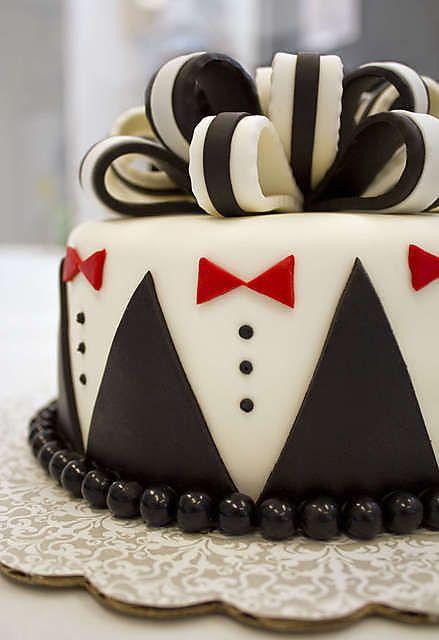 Tuxedo Cake at Talented Thumbs Bakery (Cayce, SC ). #cake #cakedecorating