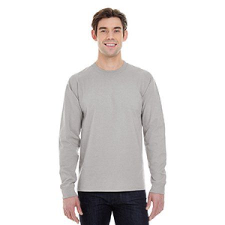 Hanes Men's Beefy Long Sleeve T-shirt, Size: Large, Gray