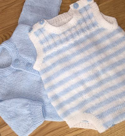 Baby romper and cardigan knitting project shared on the LoveKnitting Community