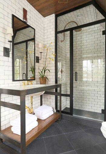 White brick and metal bath-Houzz