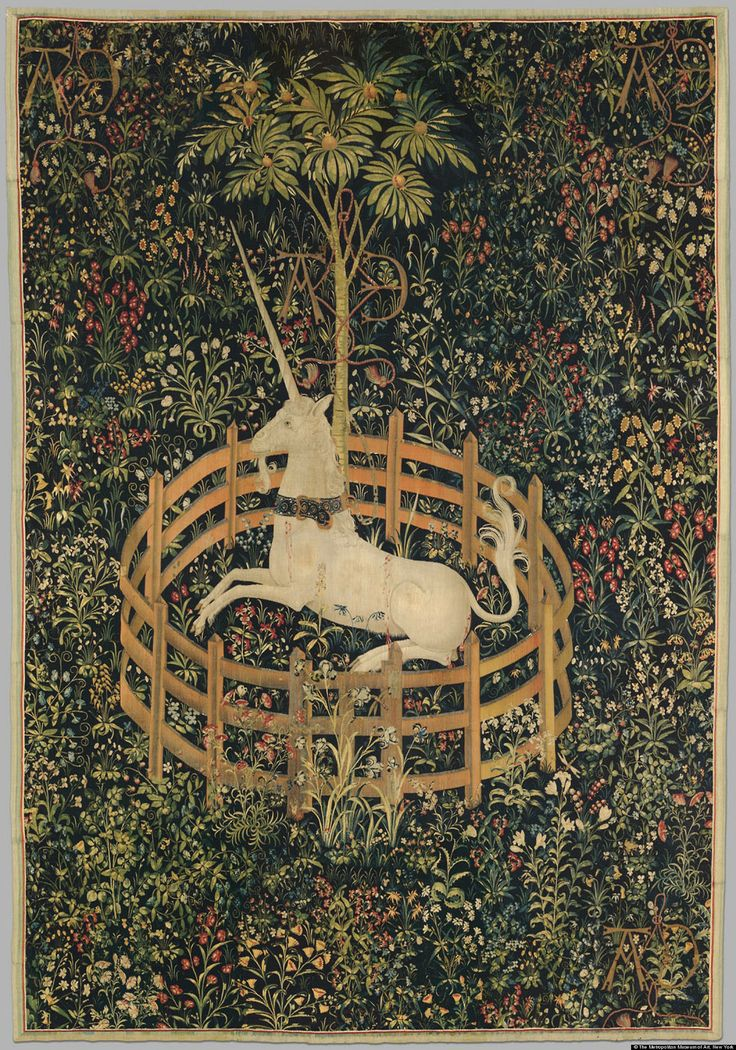 The Unicorn in Captivity, silver, silk, and gilt wefts on tapestry, 251.5 x 368 cm; one of the series of seven tapestries, The Hunt of the Unicorn (1495 - 1505). Collection of Metropolitan Museum of Art, New York, New York, USA.