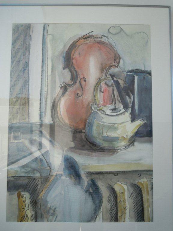 Tea pot & Broken Violin -Lynley Welsh Artist