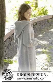 "Knitted DROPS jacket with raglan, hood and textured pattern, worked top down in ""Alpaca"" and ""Kid-Silk"". Size: S - XXXL. ~ DROPS Design"