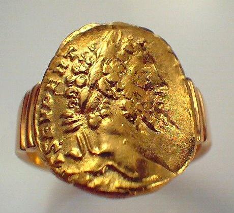 Replica Solid 18ct Roman Gold coin ring