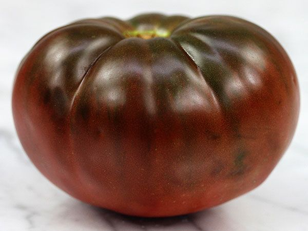 Dark purple, richly flavored beefsteak fruits. True Black Brandywine Tomato was passed down to  William Woys Weaver, conserved by him; he has shared them with us!