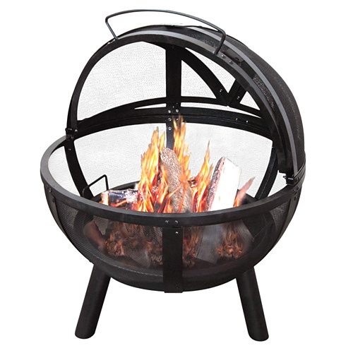 Sunnydaze Black 30 Inch Sphere Flaming Ball Fire Pit With