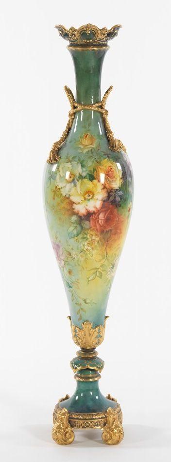 Royal Bonn Floor Floral Porcelain Vase.