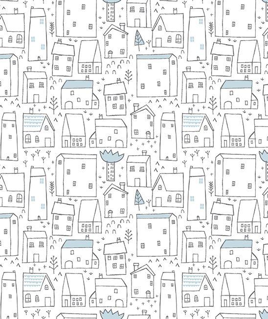 Papier peint chambre enfant maisons Dawn Machell for Lilipinso