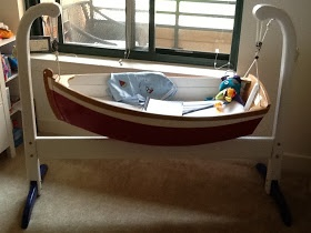Sailboat cradle. This is so adorable. Should have had this for Gabe, Angela.