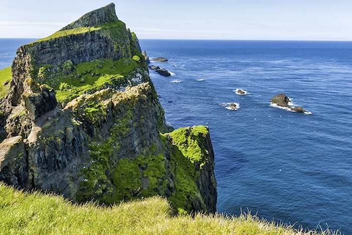Dramatic cliffs of Mykines, the bird island