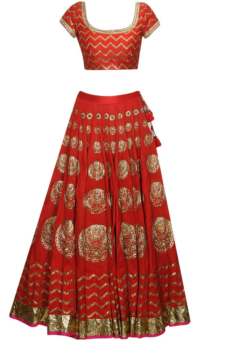 Red chaand and fish pattern dabka embroidered flared lehenga set available only at Pernia's Pop Up Shop.