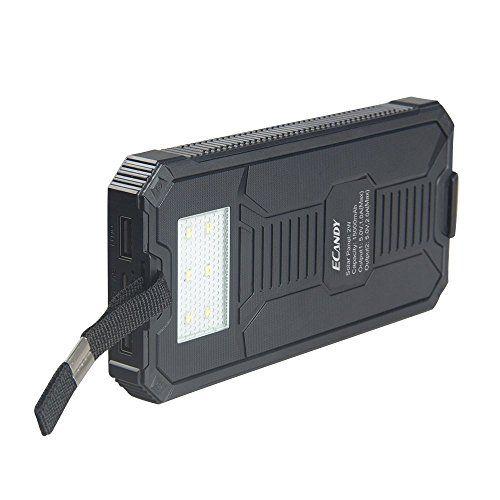 Ecandy 15000 mAh de copia de seguridad de batería solar del banco de la energía de doble puerto USB, con linterna LED cargador solar 8 para el iPhone Samsung Galaxy S6, S6, Borde S5, S4, S3 de la tableta del teléfono celular. (15000mAh negro) - http://cargadorespara.com/comprar/solares/ecandy-15000-mah-de-copia-de-seguridad-de-bateria-solar-del-banco-de-la-energia-de-doble-puerto-usb-con-linterna-led-cargador-solar-8-para-el-iphone-samsung-galaxy-s6-s6-borde-s5-s4-s3-de-la