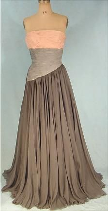 1950s silk chiffon evening gown: 30 10 11 Dress, Colour, Evening Dresses, Color Schemes, 50S Evening, 1950S Silk, Chiffon Gown, Color But